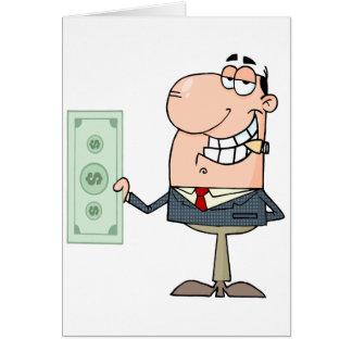 funny money hungry rich businessman cartoon card