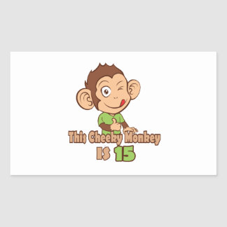 Funny Monkey 15 year old birthday Rectangular Sticker