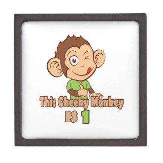 Funny Monkey 1 year old birthday Premium Trinket Box