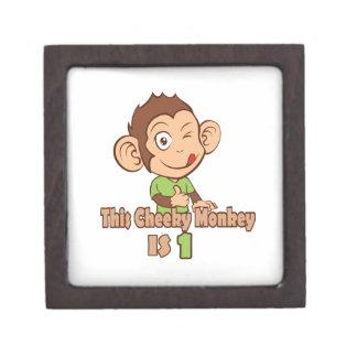 Funny Monkey 1 year old birthday Premium Jewelry Boxes