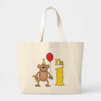 Funny Monkey 1st Birthday Large Tote Bag