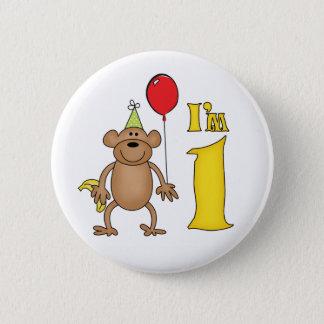 Funny Monkey 1st Birthday Pinback Button