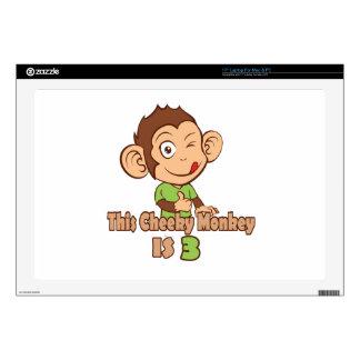 Funny Monkey 3 year old birthday Laptop Skin