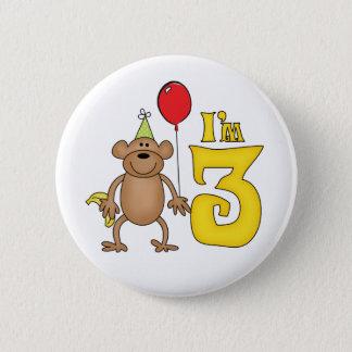 Funny Monkey 3rd Birthday Pinback Button