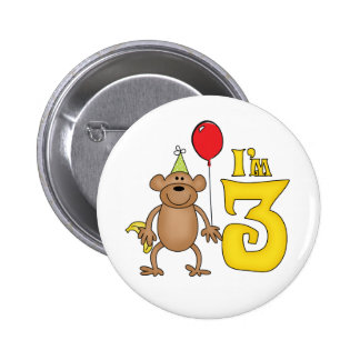 Funny Monkey 3rd Birthday Pinback Button