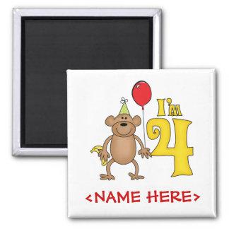 Funny Monkey 4th Birthday 2 Inch Square Magnet