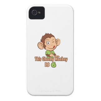 Funny Monkey 6 year old birthday iPhone 4 Case-Mate Case