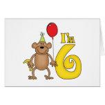 Funny Monkey 6th Birthday Greeting Card