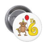 Funny Monkey 6th Birthday Pinback Button