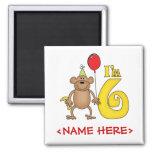 Funny Monkey 6th Birthday Refrigerator Magnets