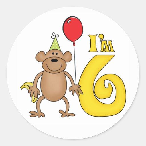 Funny Monkey 6th Birthday Round Stickers