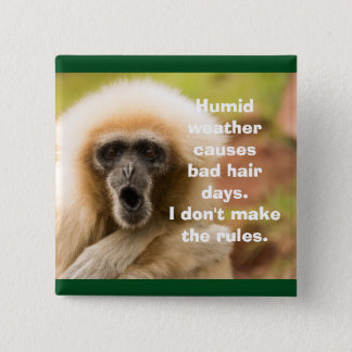 Funny Monkey Bad Hair Day Pinback Button