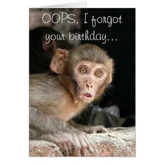 Funny monkey birthday greeting card