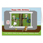 funny monkey business 100th Birthday  card