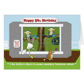 funny monkey business 50th Birthday,  card