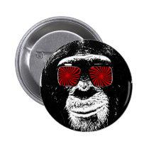 urban, funny, street, monkey, vintage, street art, button, cool, pipe, psychedelic, graffiti, retro, funny button, fun, glasses, crazy monkey, primat, sunglasses, zazzle button, Button with custom graphic design