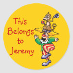 Funny Monkey & Clown Name Tag Stickers