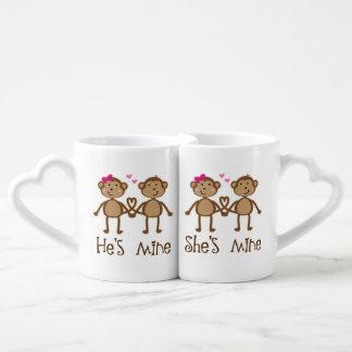 Funny Monkey Couple Matching Valentines Mugs