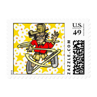 Funny Monkey Dancing Postage Stamp