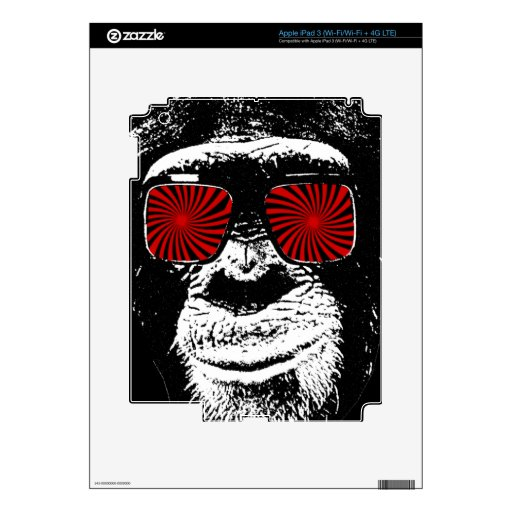 Funny monkey decals for iPad 3