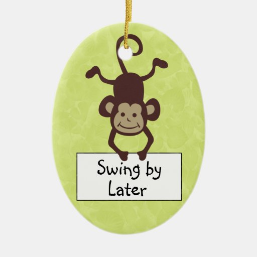 Funny Monkey Door Hanger Double-Sided Oval Ceramic Christmas Ornament