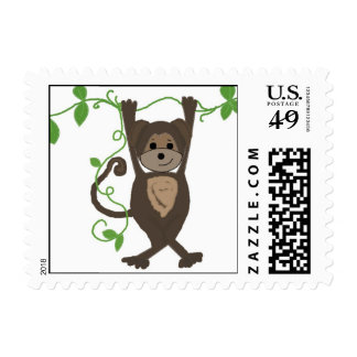 Funny Monkey Hanging on the Vines Postage Stamp