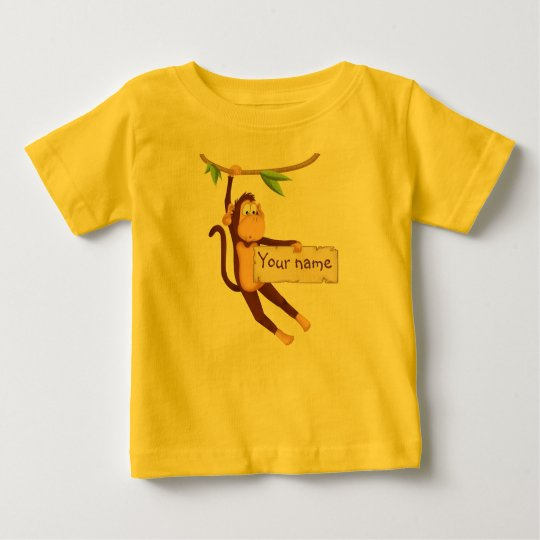 Funny monkey holding Your Text Baby T-Shirt
