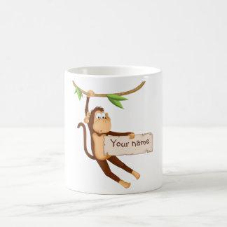 Funny monkey holding Your Text Coffee Mug