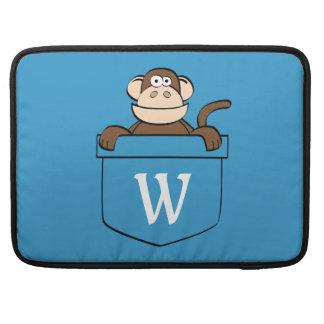 Funny Monkey in a Pocket Monogrammed MacBook Pro Sleeve