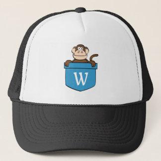 Funny Monkey in a Pocket Monogrammed Trucker Hat