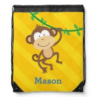 Funny Monkey in the Jungle Drawstring Backpack