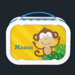 """Funny Monkey in the Jungle Lunchbox<br><div class=""""desc"""">Personalized lunchbox featuring a funny monkey in the jungle with a yellow stripe background. Cute and fun design for special for boys. Custom monogrammed gift.  For no personalization,  delete sample text and leave blank.</div>"""