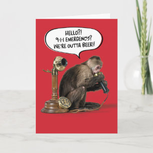 Funny Monkey Out Of Beer Birthday Card