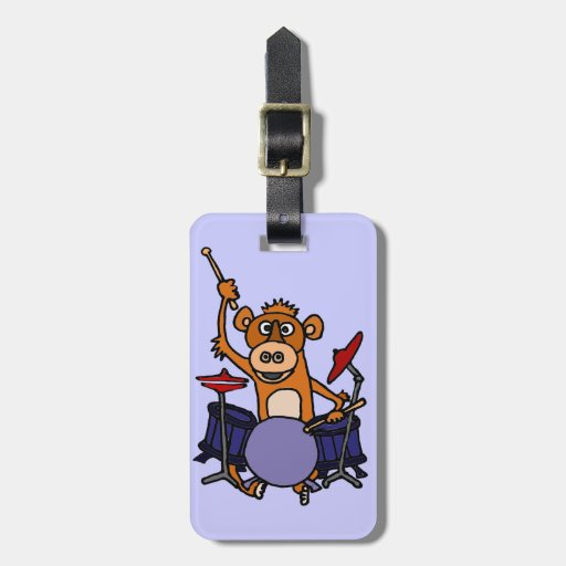 Funny Monkey Playing Drums Bag Tag