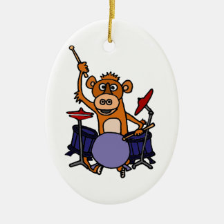 Funny Monkey Playing Drums Double-Sided Oval Ceramic Christmas Ornament