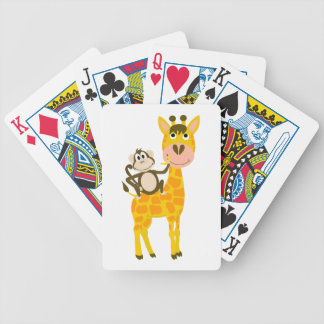 Funny Monkey Riding a Giraffe Cartoon Bicycle Playing Cards