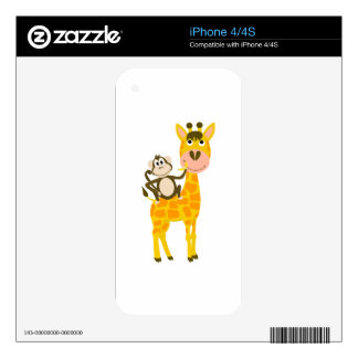 Funny Monkey Riding a Giraffe Cartoon iPhone 4S Skin