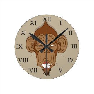 Funny Monkey Round Clock