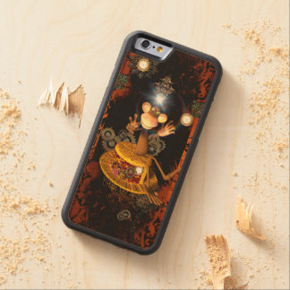 Funny monkey sitting on a hat carved maple iPhone 6 bumper case