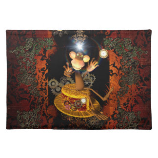 Funny monkey sitting on a hat cloth placemat
