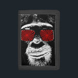 """Funny monkey tri-fold wallet<br><div class=""""desc"""">Funny monkey! Hello and welcome this design was made and designed by myself. It represents a  monkey in the old school style,  it is adorned with psychedelic glasses which gives it a completely crazy look.</div>"""