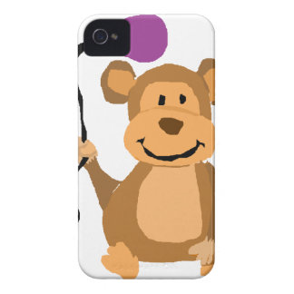 Funny Monkey with Purple Balloon iPhone 4 Cover