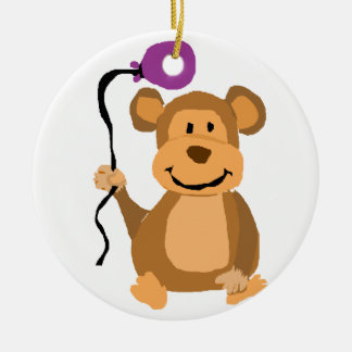 Funny Monkey with Purple Balloon Double-Sided Ceramic Round Christmas Ornament