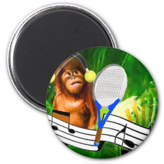 Funny monkey with racket 2 inch round magnet