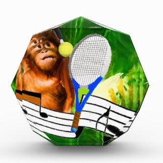 Funny monkey with racket acrylic award
