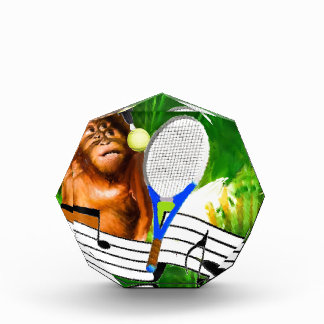 Funny monkey with racket award