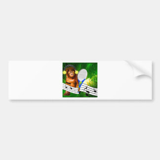 Funny monkey with racket bumper sticker