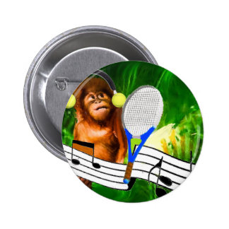 Funny monkey with racket pinback button