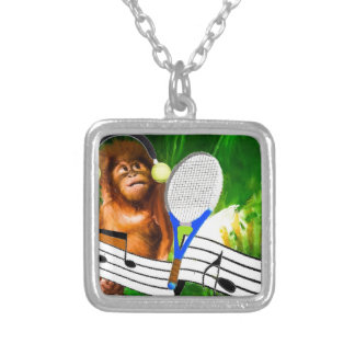 Funny monkey with racket silver plated necklace