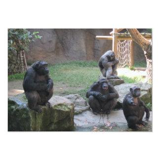 funny monkeys 5x7 paper invitation card